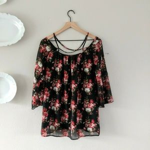 TOBI Open Shoulder Floral Tunic Blouse Small